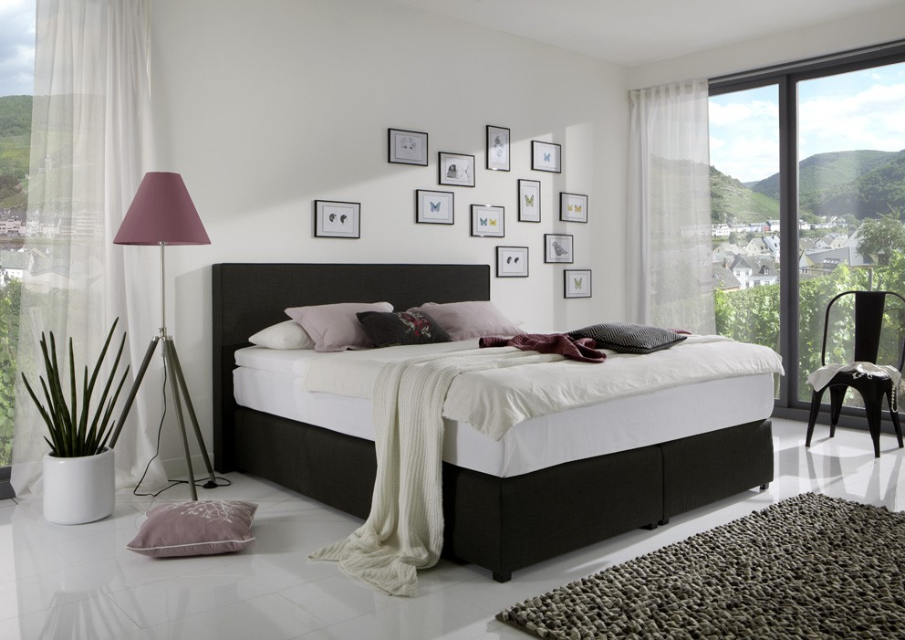 breckle boxspringbett classico webstoff schwarz made in germany ebay. Black Bedroom Furniture Sets. Home Design Ideas